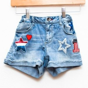 SO Jean Shorts Girls 14 Red White Blue Patriotic